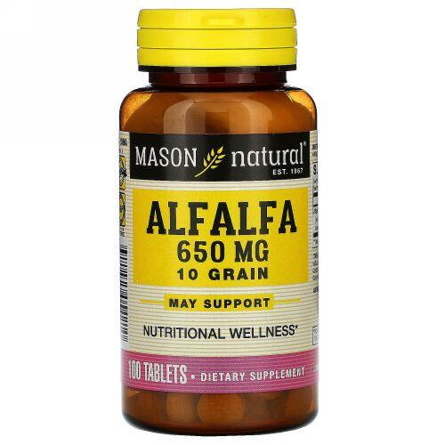 Mason Natural, アルファルファ、10種類の穀物、650 mg、100錠