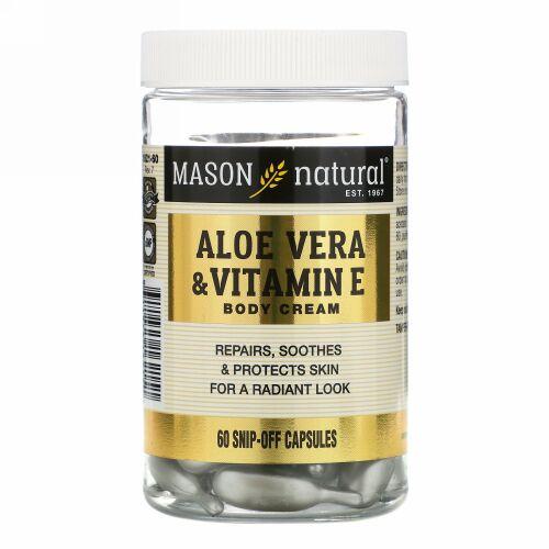 Mason Natural, Aloe Vera & Vitamin E Body Cream, 60 Snip-Off Capsules