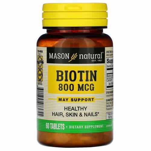 Mason Natural, Biotin, 800 mcg , 60 Tablets (Discontinued Item)