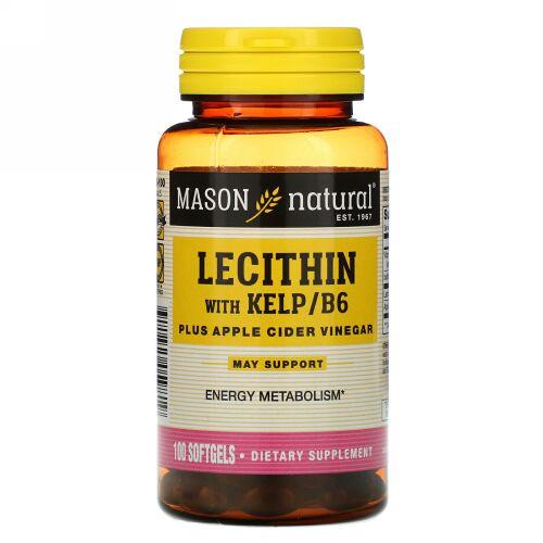 Mason Natural, Lecithin with Kelp/B6 Plus Apple Cider Vinegar, 100 Softgels