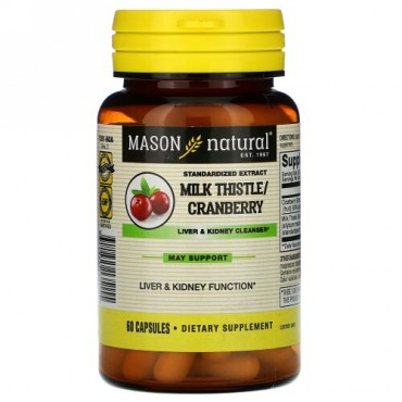 Mason Natural, Milk Thistle/Cranberry, Standardized Extract, Liver & Kidney Cleanser, 60 Capsules