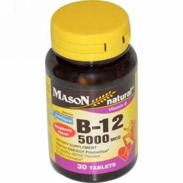 Mason Natural, ビタミンB-12、ラズベリー風味、5000mcg、舌下タブレット30錠 (Discontinued Item)