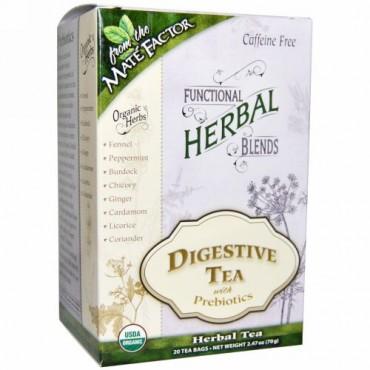 Mate Factor, オーガニック機能ハーバルブレンド、 プレバイオティクスで消化を助けるお茶、 ティーバッグ20個、 各(3.5 g) (Discontinued Item)