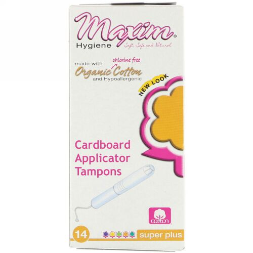 Maxim Hygiene Products, オーガニックコットン紙製アプリケータータンポン、 スーパープラス、 14タンポン (Discontinued Item)
