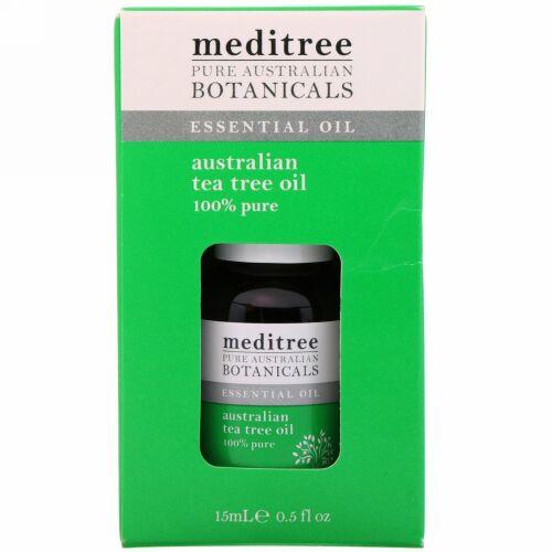 Meditree, ピュアオーストラリア産植物、100%ピュアオーストラリア産ティーツリーオイル、0.5液量オンス (15 ml)
