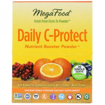 MegaFood, Daily C-Protect Nutrient Booster Powder, 30 Packets, (2.13 g) Each (Discontinued Item)