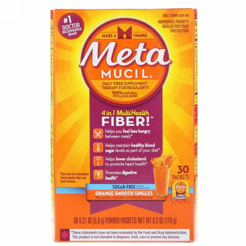 Metamucil, 4 in 1 MultiHealth, Orange Smooth Singles, 30 Packets, 0.21 oz (5.8 g) Each (Discontinued Item)