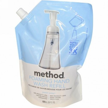 Method, 泡立つハンドウォッシュ、詰め替え用、スウィートウォーター、28 fl oz (828 ml) (Discontinued Item)