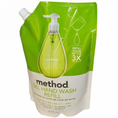 Method, ジェルハンドウォッシュ詰替え用, 緑茶+アロエ, 34液量オンス (1 L) (Discontinued Item)