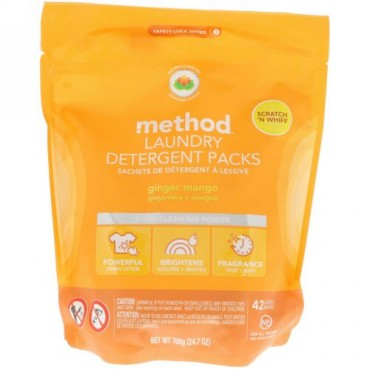 Method, 洗濯洗剤パック、ジンジャーマンゴー、42回分、24.7オンス (700 g) (Discontinued Item)