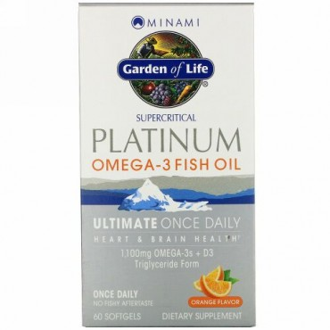 Minami Nutrition, プラチナ、オメガ3フィッシュオイル、オレンジ味、ソフトゲル60粒