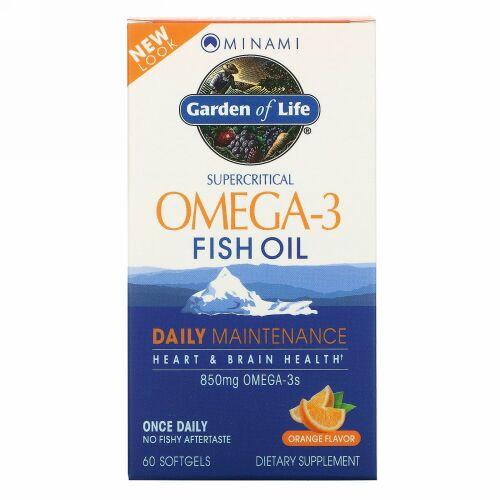 Minami Nutrition, Garden of Life、オメガ-3フィッシュオイル、オレンジの香り、60粒