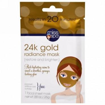 Miss Spa, 24k Gold Facial Sheet Mask, 1 Facial Mask (Discontinued Item)