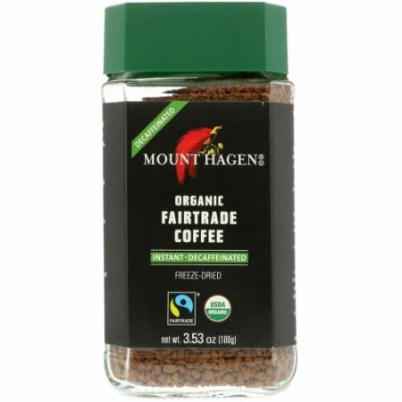 Mount Hagen, オーガニックフェアトレードコーヒー、インスタント、カフェイン抜き、3.53オンス (100 g)