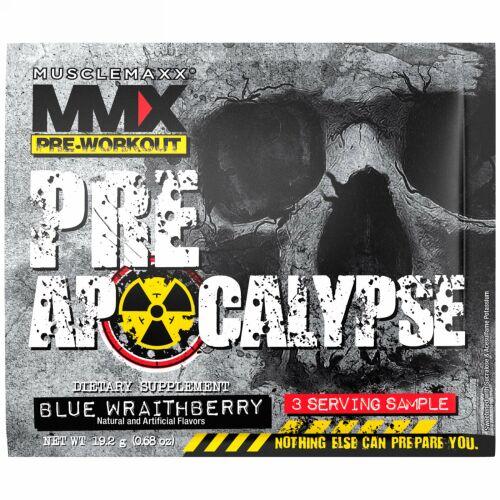 MuscleMaxx, プレアポカリプス、プレワークアウト、アルギニン+タウリン+クレアチン+ベータアラニン、ブルーレイトベリー、3回分サンプル (0.68 oz) (19.2 g) (Discontinued Item)