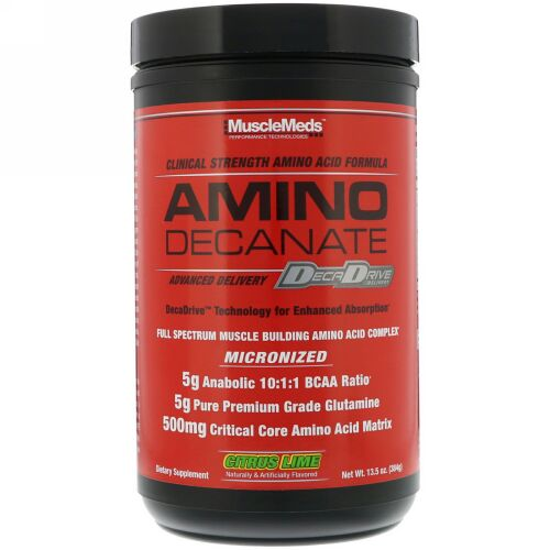 MuscleMeds, Amino Decanate, Citrus Lime, 13.5 oz (384 g) (Discontinued Item)