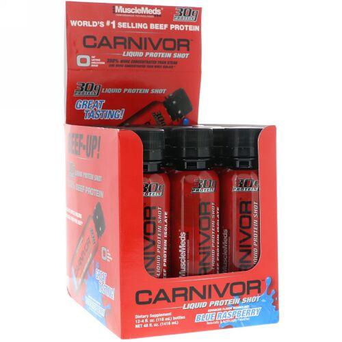 MuscleMeds, Carnivor、リキッドプロテインショット、ブルーラズベリー、12パック、各4液量オンス (118 ml) (Discontinued Item)