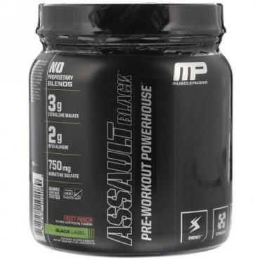 MusclePharm, アサルトブラック、プレワークアウトパワーハウス、フルーツポンチ、13.12オンス (372 g) (Discontinued Item)