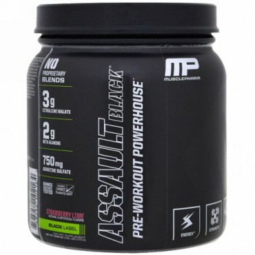 MusclePharm, アサルト・ブラック, プレワークアウト・パワーハウス, ストロベリーライム, 12.27 oz (348 g) (Discontinued Item)