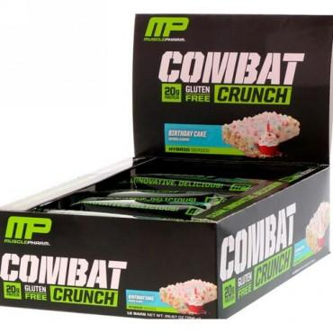 MusclePharm, コンバットクランチ, バースデーケーキ, 12本, 各2.22オンス (63 g) (Discontinued Item)