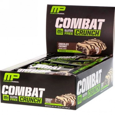 MusclePharm, コンバットクランチ、チョコレートココナッツ、12本、各 (63 g) (Discontinued Item)