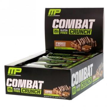 MusclePharm, コンバットクランチ, スモア, 12本, 各2.22オンス (63 g) (Discontinued Item)