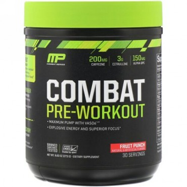 MusclePharm, Combat Pre-Workout、フルーツポンチ、9.63 オンス(273 g) (Discontinued Item)