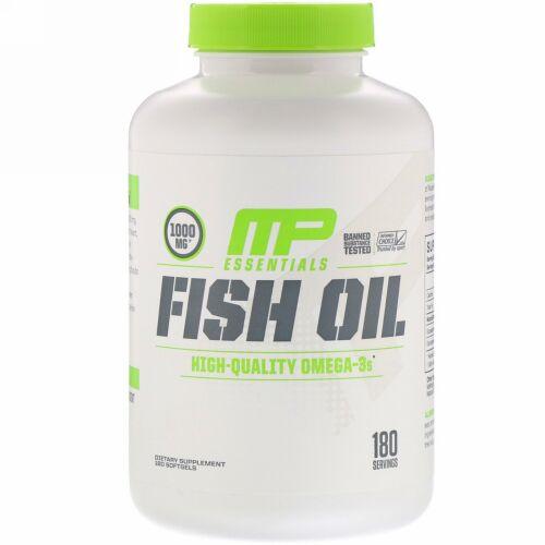 MusclePharm, 必須栄養素、フィッシュオイル、ソフトカプセル180錠 (Discontinued Item)