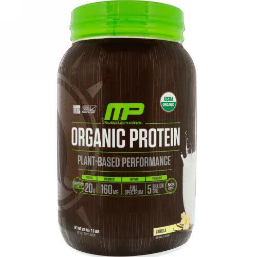 MusclePharm Natural, Organic Protein, Plant-Based, Vanilla, 2.5 lbs (1.13 kg) (Discontinued Item)