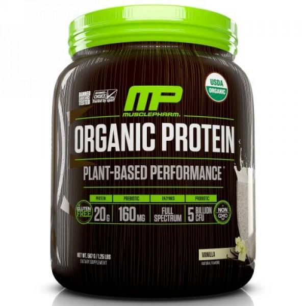 MusclePharm Natural, オーガニックプロテイン、植物ベースのパフォーマンス、バニラ、1.25 lbs (567 g) (Discontinued Item)