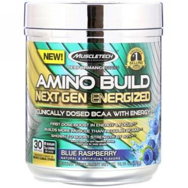 Muscletech, Amino Build(アミノビルド)ネクストジェン エナジャイズド、ブルーラズベリー、287g(10.13オンス) (Discontinued Item)