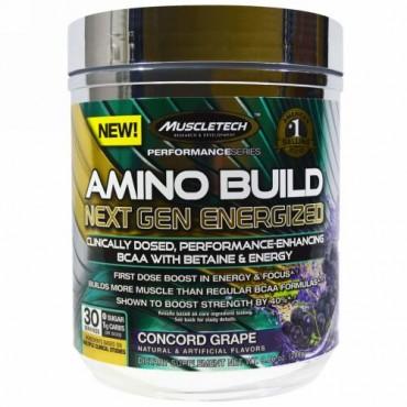 Muscletech, Amino Build(アミノビルド)ネクストジェン エナジャイズド、コンコードグレープ、280g(9.86オンス) (Discontinued Item)
