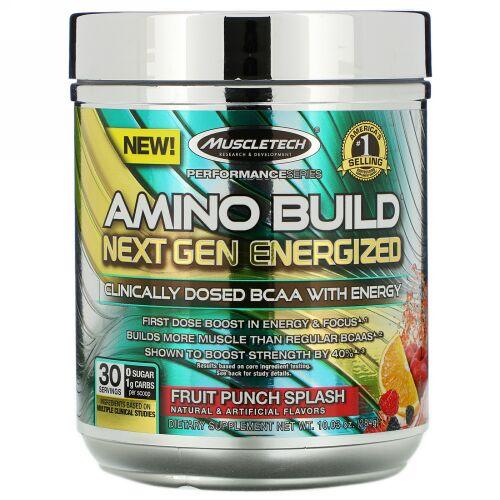 Muscletech, Amino Build(アミノビルド)ネクストジェン エナジャイズド、フルーツパンチスプラッシュ、284g(10.03オンス)