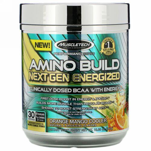 Muscletech, Amino Build(アミノビルド)ネクストジェン エナジャイズド、オレンジマンゴークーラー、286g(10.09オンス)
