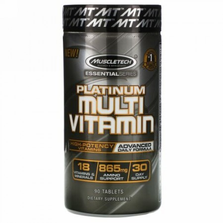 Muscletech, エッセンシャルシリーズ、プラチナマルチビタミン、タブレット90粒
