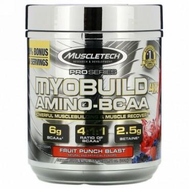 Muscletech, MyoBuild(マイオビルド)4Xアミノ-BCAA、フルーツパンチブラスト、332g(11.71オンス)