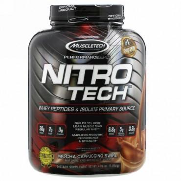 Muscletech, NitroTech(ニトロテック)、ホエイペプチド&アイソレートプライマリーソース、モカカプチーノスワール、1.81kg(4ポンド)