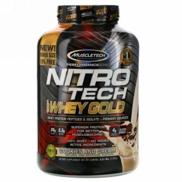 Muscletech, Nitro Tech(ニトロテック)、100%ホエイゴールド、クッキーアンドクリーム、2.51kg(5.53ポンド)