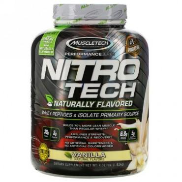 Muscletech, Nitro Tech、天然風味、ホエイペプチド&アイソレートプライマリーソース、バニラ、1.82kg (Discontinued Item)