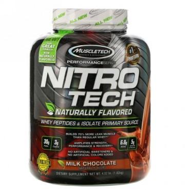 Muscletech, Nitro Tech、天然香料ホエイペプチド&アイソレートプライマリーソース、ミルクチョコレート、1.82kg (Discontinued Item)