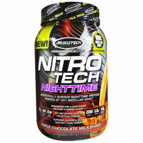 Muscletech, Nitro Tech、Nighttimeプロテイン、トリプルチョコレートミルクシェイク味、2.00ポンド(907 g) (Discontinued Item)