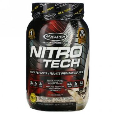 Muscletech, Nitro-Tech(ニトロテック)、ホエイアイソレート+リーンマッスル ビルダー、クッキーアンドクリーム、907g(2ポンド)