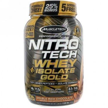 Muscletech, Nitro Tech Whey Plus Isolate Gold, Double Rich Chocolate, 2 lb (907 kg) (Discontinued Item)