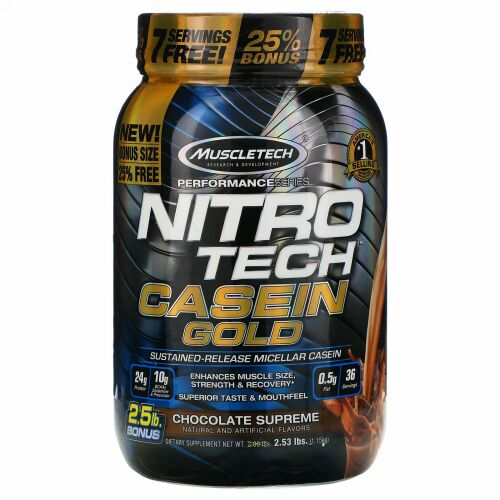 Muscletech, Nitro Tech(ニトロテック)カゼインゴールド、チョコレートスプリーム、1.15kg(2.53ポンド)