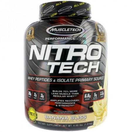Muscletech, ニトロテック、ホエイペプチド&アイソレートの基本サプリ、バナナブリス、1.81kg(4 lb) (Discontinued Item)