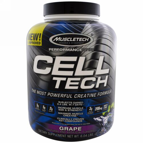 Muscletech, CELL-TECH(セルテック)、高性能クレアチン成分、グレープ、2.74kg(6.04ポンド) (Discontinued Item)