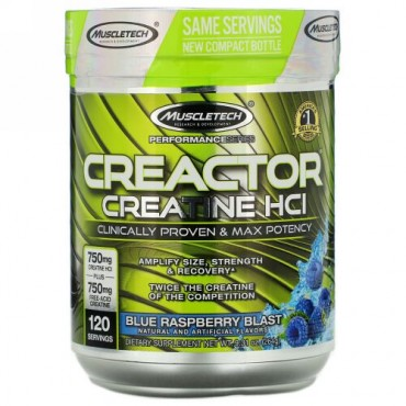 Muscletech, Performance Series, CREACTOR, Creatine HCI, Blue Raspberry Blast, 9.31 oz (264 g)