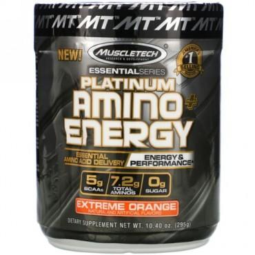 Muscletech, Platinum Amino Plus Energy、エクストリームオレンジ、295g