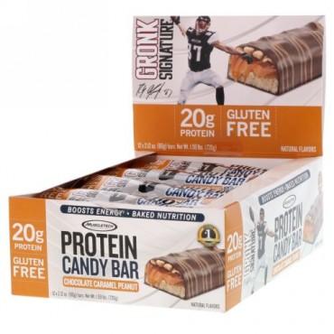 Muscletech, プロテインキャンディバー、チョコレートキャラメルピーナッツ、12本、各60g(2.12オンス) (Discontinued Item)