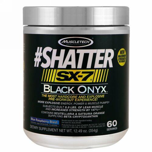 Muscletech, #シャター、SX-7、ブラックオニキス、プレワークアウト、ブルーラズベリーブラスト、12.49 oz (354 g) (Discontinued Item)